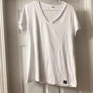 White slice front vneck T-shirt